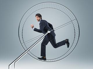 businessman in 3d hamster wheele