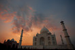 Sunset Behind Empty Taj Mahal Moody Sky at Dusk