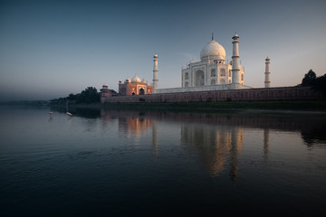 Jamuna River Birds at Sunset Taj Mahal