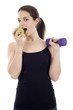 Fitness Girl Eating an Apple
