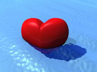Ein Herz, versinkt im Wasser, symbolisch für Liebeskummer