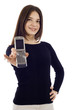 Friendly Confident Woman hHlding a Mobile Phone
