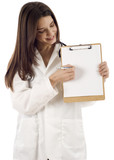 Female Doctor with Blank Paper and Clipboard
