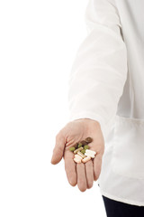 Hand with Pills with copyspace