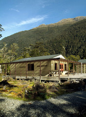 Clinton Hut, a cabin on the Milford Track in New Zealand.