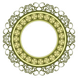 Vintage decorated medallion frame isolated over white poster