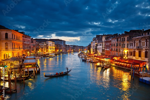 Aluminium Venetie Grand Canal at night, Venice