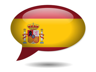 Spanish Flag Speech Bubble Icon (Spain España Web Button)
