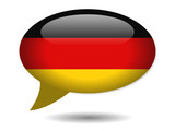 German Flag Speech Bubble Icon (Germany Deutschland Web Button)