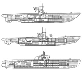 3 kinds of German u-type submarine