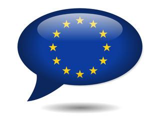 European Union Flag Speech Bubble Icon (EU Europe Web Button)