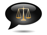SCALES OF JUSTICE Speech Bubble Icon (Law Legal Advice Vector) poster