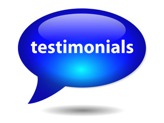 TESTIMONIALS Speech Bubble Icon (web button marketing business)