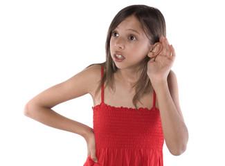 jeune adolescente expresive - écouter
