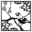 Papercut frame with bird and flowers in chinese style