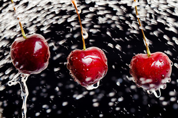 cherries with hits drop of water