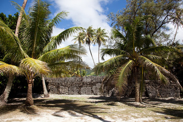 Archaeological site on Huahine, French Polynesia