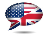 USA-UK Flags Speech Bubble Icon (English Language Version Button
