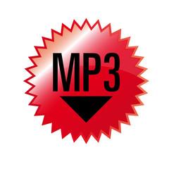Aufkleber Zacken MP3