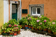 Small patio in Portugal with fowers in flowerpots