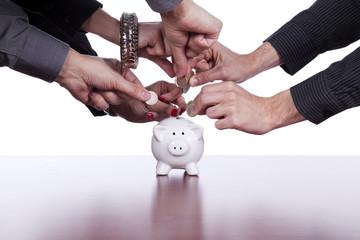 Group of people saving money