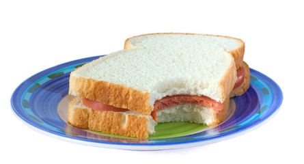 sandwich with sausage on a plate