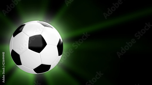 loopable CGI soccer ball on black - alpha channel