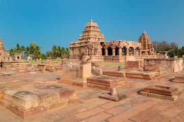 The ruins ancient hindu temple in Pattadakal, Karnataka, India