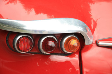 Detail of a vintage French car, backlights
