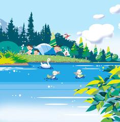 湖のキャンプ