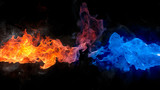 Fototapety red and blue fire