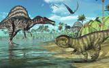 Prehistoric scene with Spinosaurus and Psittacosaurus Dinosaurs poster