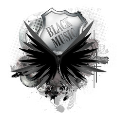 flyer button poster black music
