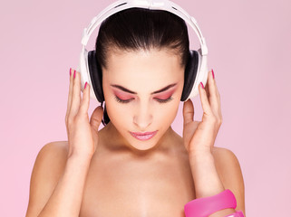 Pretty woman with headphones