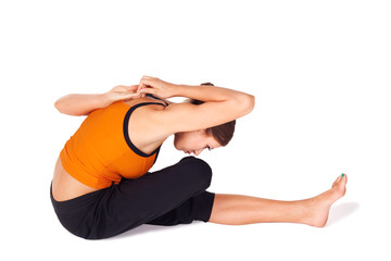 Fit Woman Practicing Yoga Stretching Asana