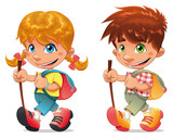 Fototapety Trekking boy and girl. Vector and cartoon isolated characters.