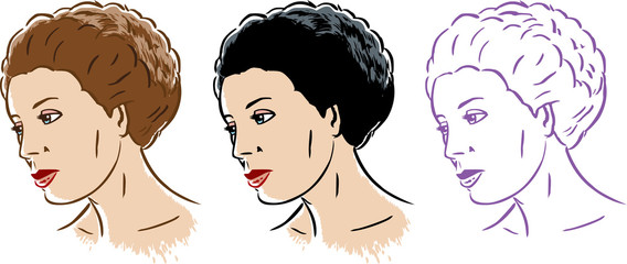Stylized woman in 3 styles