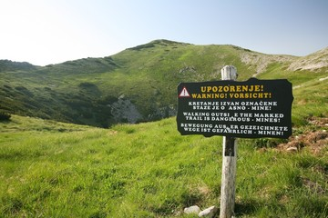 Warning of mines, Velebit mountains, Croatia