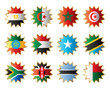 Star flags Africa two. Separated layers with country name.