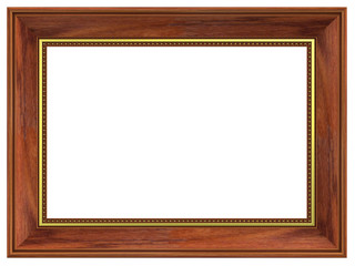 Rosewood rectangular frame isolated on white background.