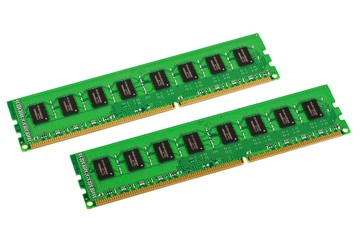 Pair of computer memory modules isolated on white