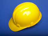 Yello Hardhat On Blue