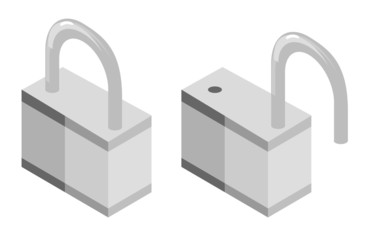 Vector illustration of opened and closed lock
