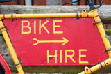 bike hire sign on a rusty frame poster