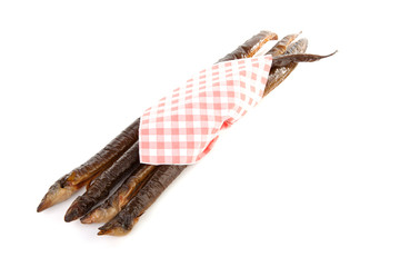 smoked eel over white background