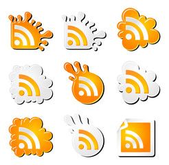 funny rss icons set