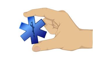 Hand hold medic symbol