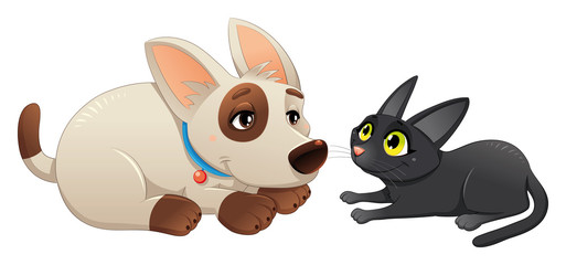 Lovely cat and dog. Cartoon and vector isolated characters.
