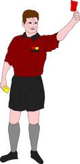 Schiedsrichter mit roter Karte