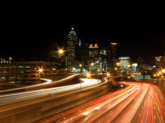 Atlanta rush-hour at night - long exposure